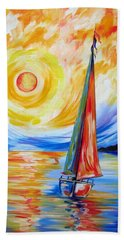 Sailing In The Hot Summer Sunset Beach Towel