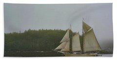 Sailing In The Mist Beach Towel