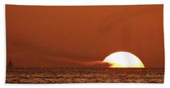 Sailing In The Sunset Beach Towel