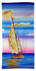 Sailing Into A Dreamy Sunset Beach Towel