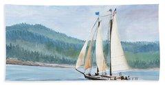 Sailing Into Castine Harbor Beach Towel