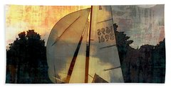 Sailing Into The Sunset Beach Towel by LemonArt Photography