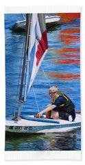 Sailing On Lake Thunderbird Beach Sheet by Joshua Martin