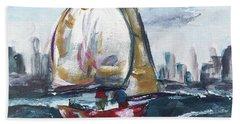 Sailing On The Hudson Beach Towel
