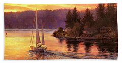 Beach Towel featuring the painting Sailing On The Sound by Steve Henderson