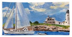Sailing Past Wood Island Lighthouse Beach Towel