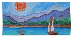 Beach Sheet featuring the painting Sailing Red Sun by Xueling Zou