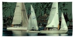 Beach Towel featuring the photograph Sailing Reflections by David Patterson
