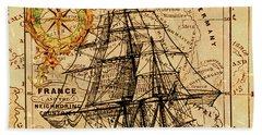 Sailing Ship Map Beach Towel