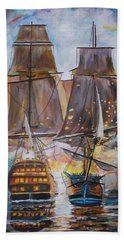 Sailing Ships At War. Beach Towel