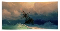 Sailing Ships In The Harbor Beach Towel