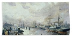 Sailing Ships In The Port Of Hamburg Beach Towel