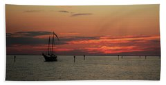 Sailing Sunset Beach Towel