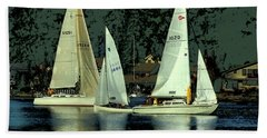 Sailing The Harbor Beach Towel