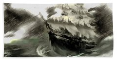 Sailing The Stormy Seas Beach Towel