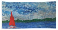 Beach Sheet featuring the painting Sailing The Wind by John Scates