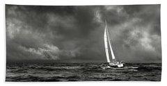 Sailing The Wine Dark Sea In Black And White Beach Towel