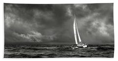 Sailing The Wine Dark Sea In Black And White Beach Sheet