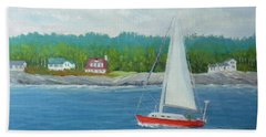 Sailing To New Harbor Beach Towel