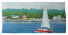 Sailing To New Harbor Beach Towel