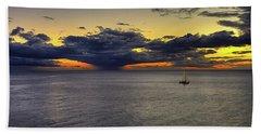 Sailing To Sunset Beach Towel