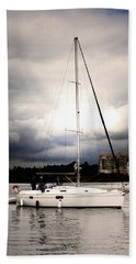 Beach Towel featuring the photograph Sailor And Storm by Haleh Mahbod