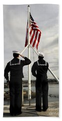 Sailors Raise The National Ensign Beach Towel