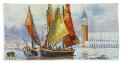 Sails 10 - Venice San Marco Beach Sheet by Irek Szelag