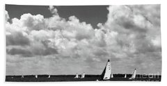 Sails And Clouds In Bw Beach Sheet by Mary Haber