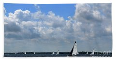 Sails And Clouds Beach Sheet by Mary Haber