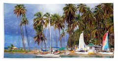 Sails And Palms Beach Sheet by Sue Melvin