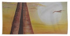 Beach Sheet featuring the painting Sails In The Sunset by Debbie Baker