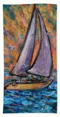 Beach Towel featuring the painting Sails Up by Xueling Zou