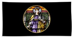 Saint Adelaide Stained Glass Window In The Round Beach Towel
