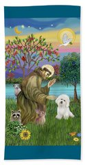 Saint Francis Blesses A Bichon Frise Beach Sheet