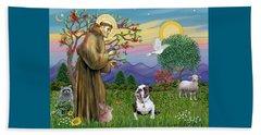 Saint Francis Blesses A Brown And White English Bulldog Beach Sheet