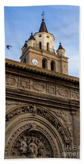 Beach Towel featuring the photograph Saint Hieronymus Facade Of Calahorra Cathedral by RicardMN Photography