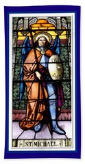Saint Michael The Archangel Stained Glass Window Beach Towel