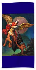 Beach Sheet featuring the painting Saint Michael The Warrior Archangel by Svitozar Nenyuk