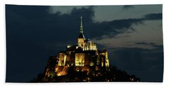 Beach Towel featuring the photograph Saint Michel Mount After The Sunset, France by Yoel Koskas