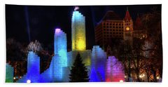 Saint Paul Winter Carnival Ice Palace 2018 Lighting Up The Town Beach Towel