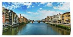 Panoramic View Of Saint Trinity Bridge From Ponte Vecchio In Florence, Italy Beach Towel