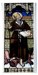 Saint William Of Aquitaine Stained Glass Window Beach Sheet