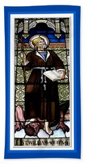 Saint William Of Aquitaine Stained Glass Window Beach Towel