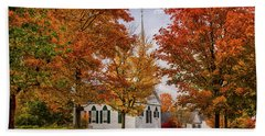Beach Towel featuring the photograph Salem Church In Autumn by Jeff Folger
