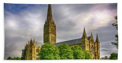 Salisbury Cathedral, Uk Beach Towel by Chris Smith