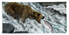 Salmon Fishing Beach Towel by Don Olea