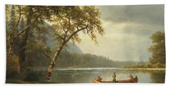 Salmon Fishing On The Caspapediac River Beach Sheet by Albert Bierstadt