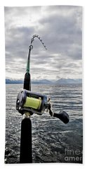 Salmon Fishing Rod Beach Towel by Darcy Michaelchuk