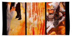 Salmon Gum Tree Triptych Beach Towel